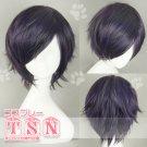 Gintama Takasugi Shinsuke Black Purple Short Cosplay Wig