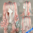 Lolita Pink mix Blue Curly Ponytails Cosplay Party Hair Wig 80cm