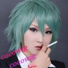 Togainu No Chi Akira New Short Turn-up Green Gray Cosplay Party Synthetic Wig
