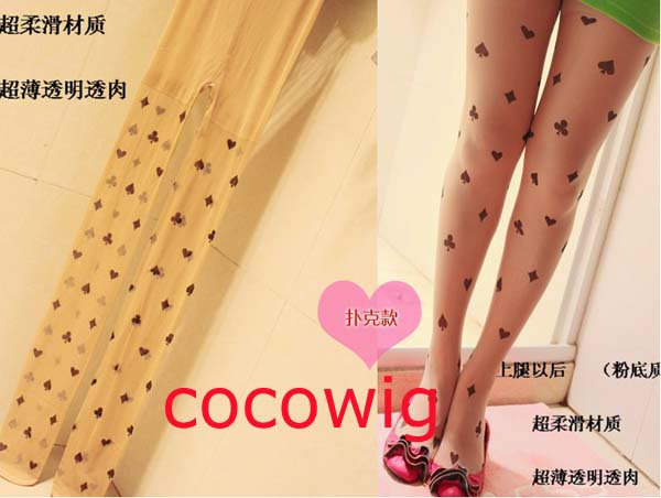 Woman  Fashion Sexy Tattoo black poker print Pantyhose & Tights Leggings  Stocking