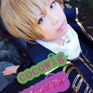 Gintama Okita Sougo Silver Soul yellow Brown Cosplay Short Party Hair Full Wig