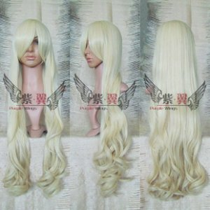 Panty & stocking Panty long Light Blonde curly Cosplay Party Wig 100cm