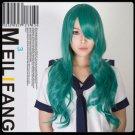 80cm Sailor Moon Sailor Neptune Heat Resistant Green Wavy Cosplay Wig