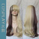 Japanese Harajuku Zipper GAL Color Gradient Long Curly Cosplay Party Wig