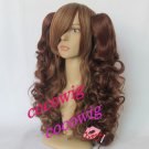 Lolita Long Curly Brown Cosplay Wig+2 Curly Clip On Ponytails