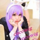 Fashion Long light purple Straight Women Lady's Cosplay Hair Full Wig 100cm