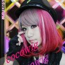 Japanese Harajuku Zippe Red Gradient short Lolita Kawaii Cosplay Party Wig