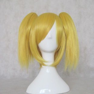 VOCALOID Rin 35CM short gold yellow ponytails cosplay party wig