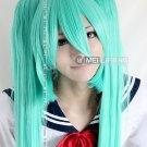 Vocaloid Hatsune Zatsune Miku Grass Green Cosplay Wig With 2 Clips 120CM Ponytais