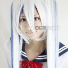 1.2M Vocaloid2 Snow Miku Hatsune White Blue Long Cosplay Wig 2*clip ponytails