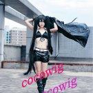 Vocaloid Zatsune Miku BRS Black Rock Shooter cosplay Wig + 2 120cm Ponytails