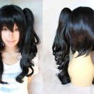 Heat Resistant black two 60cm curly clip ponytails cosplay wig