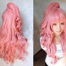 Vocaloid Ruka dark pink wavy curly Cosplay WIG 80cm + 60cm clip ponytail
