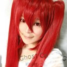 Vocaloid Hatsune Zatsune Miku red Cosplay Wig With 2 Clips 115CM Ponytails