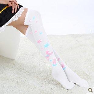 Hot Sell Japanese white star pony figure socks knee-high socks