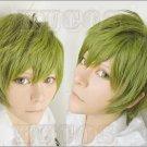 Free! Makoto Tachibana Short Olive Green Cosplay Anime Hair Full Wig Costume HOT