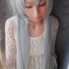 Pandora Hearts Alice/Under Taker long straight 130cm silver white mix blue cosplay wig