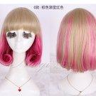 Fashion Japanese Harajuku Zippe brown mix red Lolita Kawaii Halloween Cosplay Party Wig