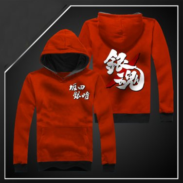New Anime Silver Soul Sakata Gintoki long Sleeve red Unisex Hoodie Cosplay Costume