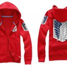 Investigation Corps Attack on Titan Anime Unisex red Cosplay Costume Zip Hoodie