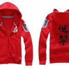 Investigation Corps Attack on Titan Anime Unisex red Attack Cosplay Costume Zip Hoodie