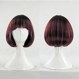 Fashion Japanese Harajuku Zippe Short brown mix purple BOBO Lolita Cosplay Party Wig