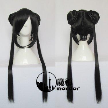 CARDCAPTOR SAKURA Ri MeiRin black 80cm Cosplay wig+free shipping+Free Wig Cap
