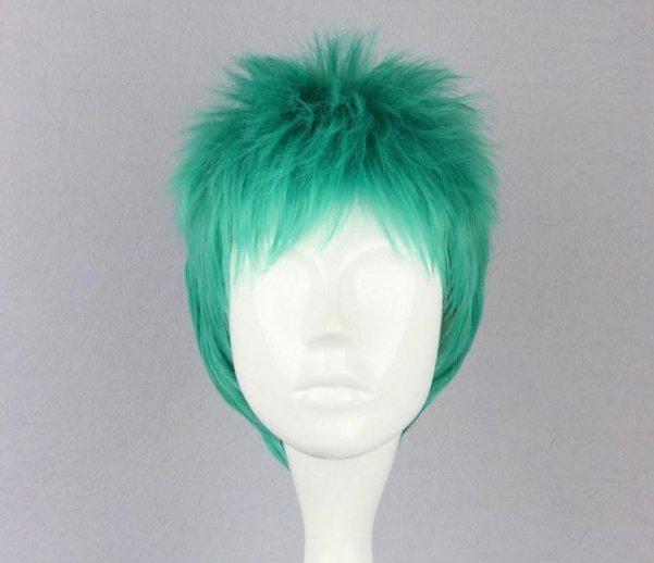 One Piece Roronoa Zoro blue green mix Cosplay wig+free shipping+Free Wig Cap