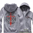 Fate zero saber cosplay Casual costume Sweater Hoodie fleeces Hoody unisex Zipper Hooded grey