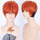 Nick Wilde orange brown mix cos wig+free shipping+Free Wig Cap