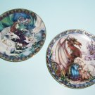 Jody Bergsma Castles and Dreams Plates Birth of a Dream and Follow Your Dreams 1990s Dragon Plates