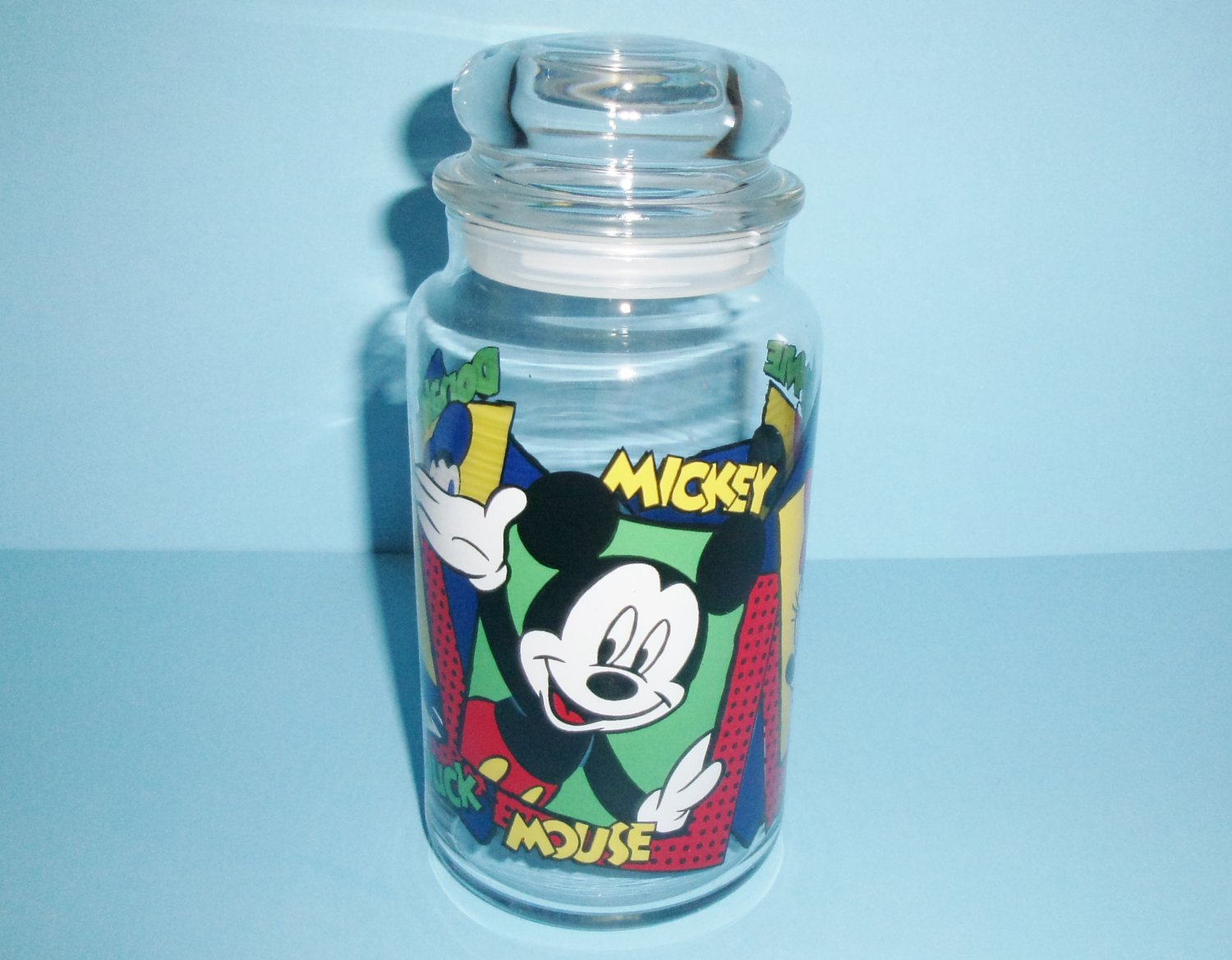 Disney Glass Candy Or Goody Jar With Lid Mickey Mouse, Minnie Mouse and Donald Duck Vintage