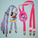 2 Pair Walt Disney Company 1980s Childrens Suspenders Mickey Mouse and Minnie Mouse