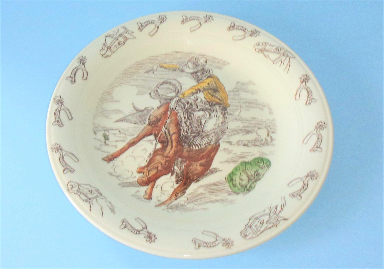Vernon Kilns Frontier Days Chop Plate Winchester 12.25 Inches PL Davidson