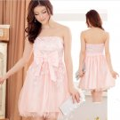 Free Shipping Super excellent Strapless evening dress plus size bow Pink dress D3J113P