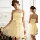 Free Shipping Super excellent Strapless evening dress plus size bow Champagne dress D3J113C