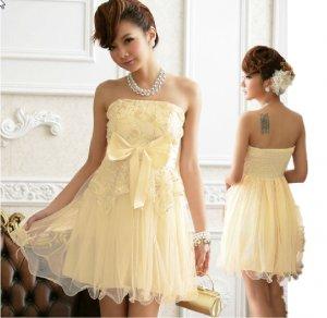 Free Shipping Super excellent Strapless evening dress plus size bow Champagne dress D3J113C