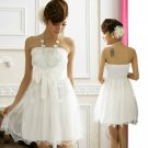 Free Shipping Super excellent Strapless evening dress plus size bow White dress D3J113W