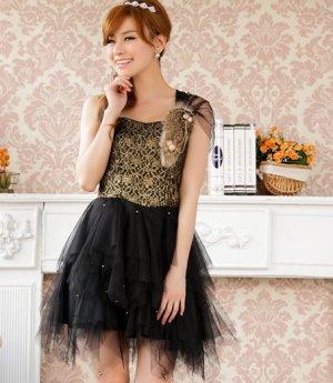 Free Shipping Strapless single suspenders formal dress plus size dress black D2J912B