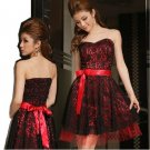 Free Shipping Lace Strapless Women Plus Size evening gown dress Red D2J134R