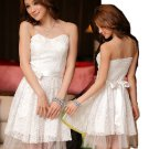 Free Shipping Lace Strapless Women Plus Size evening gown dress White D2J134W