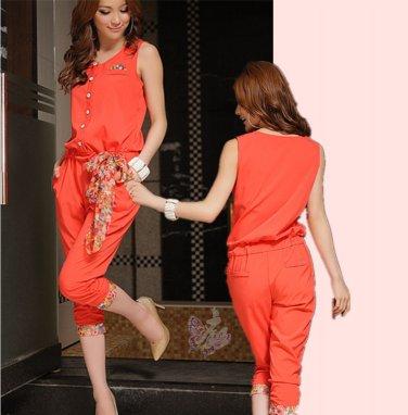 Free Shipping women's fashion round neck chiffon Elastic Pants Jumpsuit D2J633OR