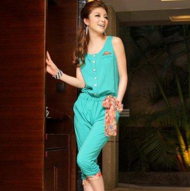 Free Shipping women's fashion round neck chiffon Elastic Pants Jumpsuit D2J633G