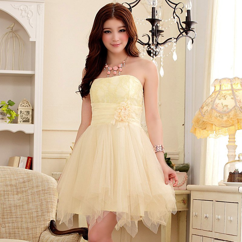 Free Shipping Vogue ladies Romantic Honeymoon flower bud Strapless Evening gown dress D2J645C