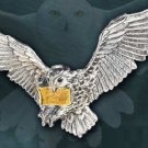 Flying Hedwig Brooch Sterling Silver 24k Gold Plated Harry Potter Owl Noble