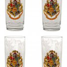 Wizarding World of Harry Potter Hogwarts Crest Set of 4 Tea Glasses