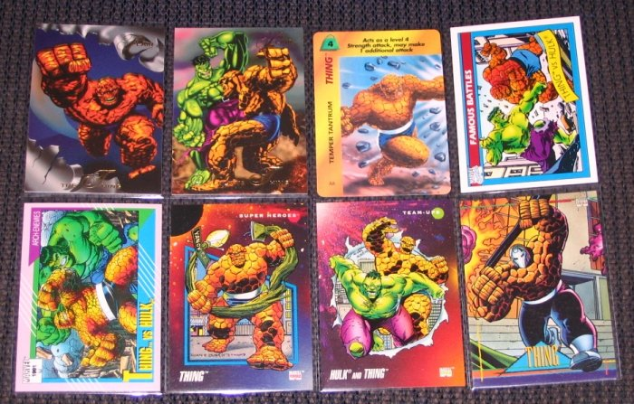 Thing Cards- Fantastic Four Hulk Marvel Flair Universe- Lot of 8 NM-M