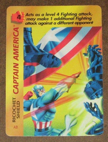 Marvel OverPower (Fleer 1995) - Captain America Ricochet Shield Card NM
