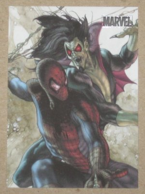 Marvel Heroes and Villains (Rittenhouse 2010) Parallel Card #78- Spider-Man vs. Morbius NM