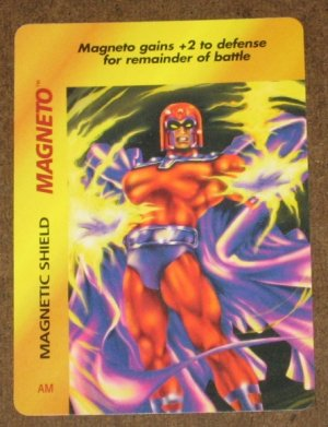 Marvel OverPower (Fleer 1995) - Magneto Magnetic Shield Card EX-MT